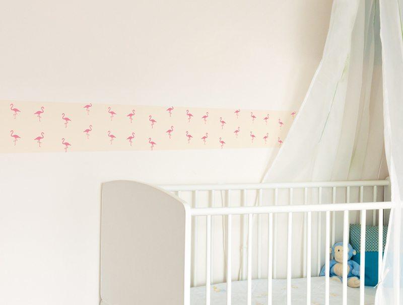 מדבקת קיר לחדרי תינוקות | מדבקת קיר | בורדר פלמינגו