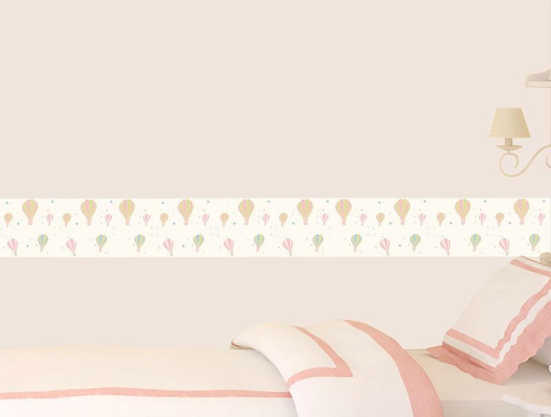 מדבקת קיר לחדרי שינה   מדבקת קיר   בורדר כדורים פורחים