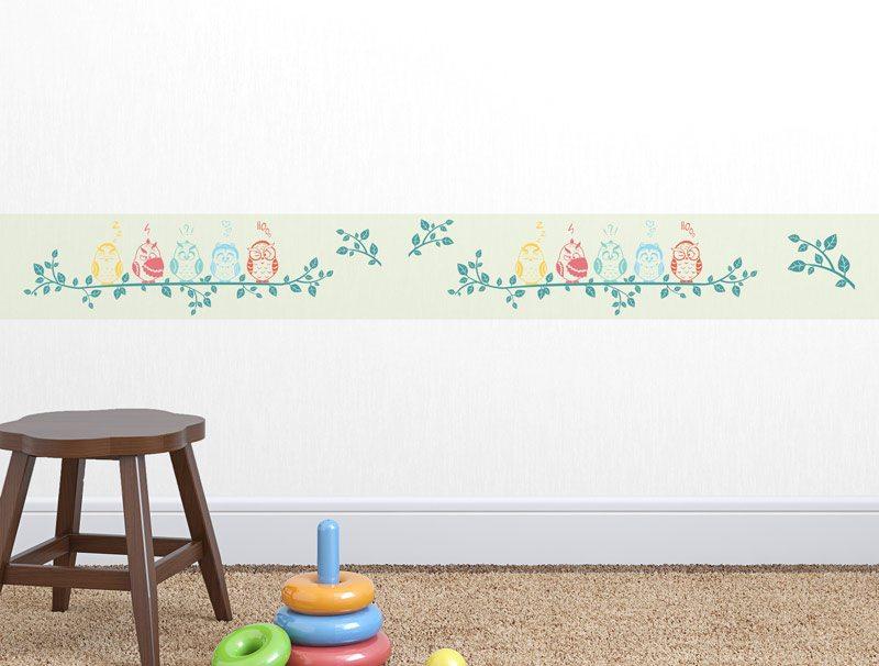 מדבקת קיר לחדרי ילדים   מדבקת קיר   בורדר ינשופים