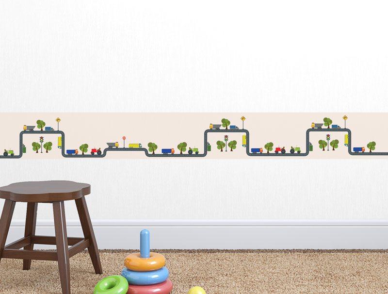 מדבקת קיר לגני ילדים   מדבקת קיר   בורדר כביש