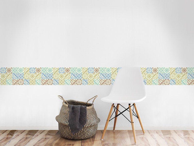 מדבקת קיר לסלון   מדבקת קיר   בורדר אריחים