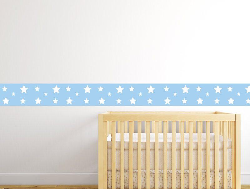 מדבקת קיר לחדרי תינוקות   מדבקת קיר   בורדר כוכבים תכלת