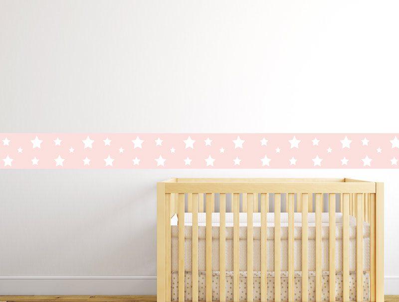 מדבקת קיר לחדרי תינוקות   מדבקת קיר   בורדר כוכבים ורוד