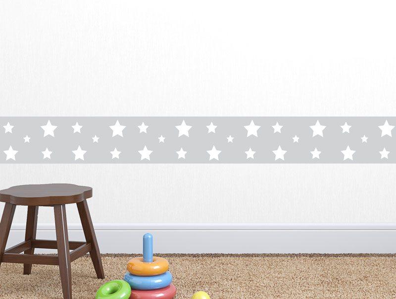 מדבקת קיר לגני ילדים   מדבקת קיר   בורדר כוכבים באפור