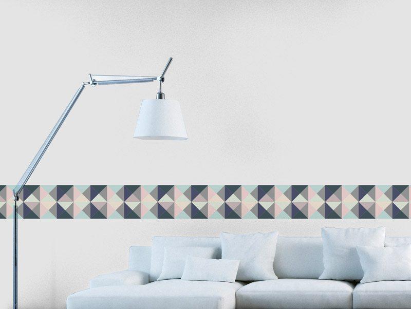 מדבקת קיר לסלון   מדבקת קיר   בורדר גיאומטרי