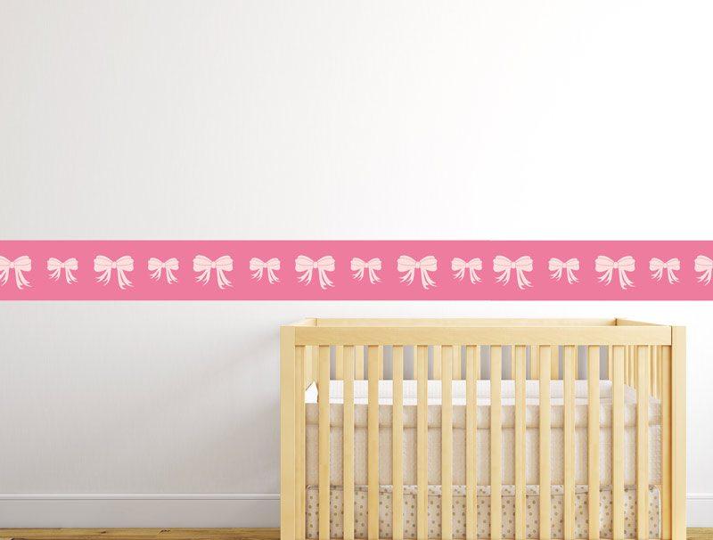 מדבקת קיר לחדרי תינוקות   מדבקת קיר   בורדר פפיונים וורודים
