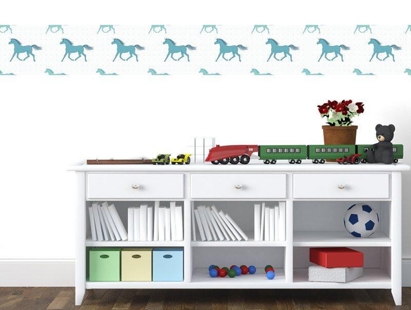 מדבקות קיר לחדרי ילדים   מדבקת קיר   בורדר סוסים