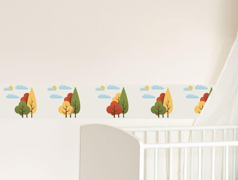 מדבקות קיר לחדרי ילדים   מדבקת קיר   בורדר עצים מצויירים