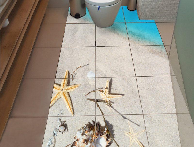מדבקת קיר אריחים | מדבקות רצפה | חוף ים