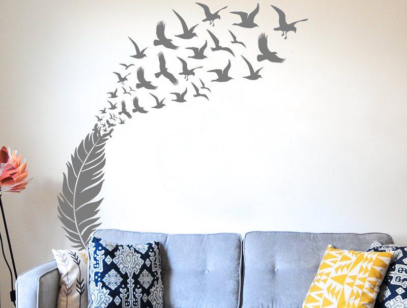 מדבקת קיר לסלון | מדבקת קיר | נוצת החופש