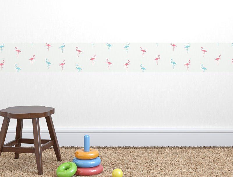 מדבקת קיר לחדרי תינוקות | מדבקת קיר | בורדר פלמינגו אדום כחול