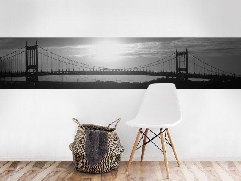 מדבקת קיר לסלון   מדבקת קיר   בורדר גשר סן פרנסיסקו שחור לבן