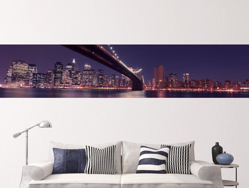 מדבקת קיר לסלון   מדבקת קיר   בורדר ניו יורק הקסומה
