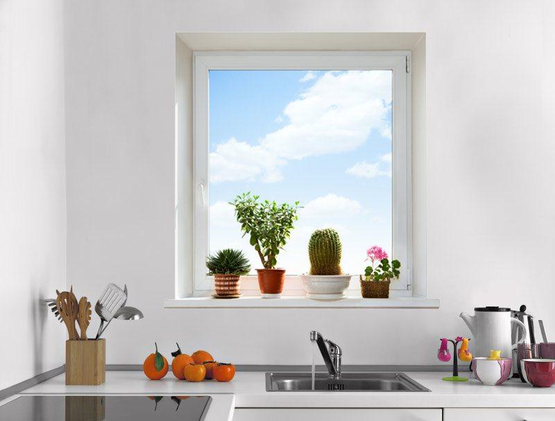 מדבקת קיר   חלון עם נוף של שמים ועציצים