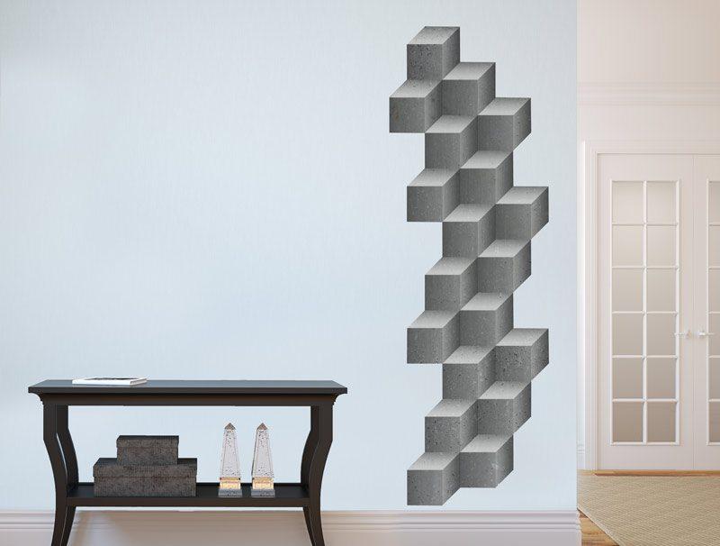 מדבקת קיר   קוביות בטון תלת מימדיות
