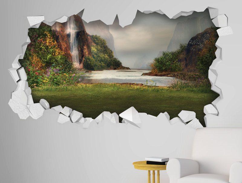 מדבקת קיר   חור קיר עם נוף של אגם עם מפלים
