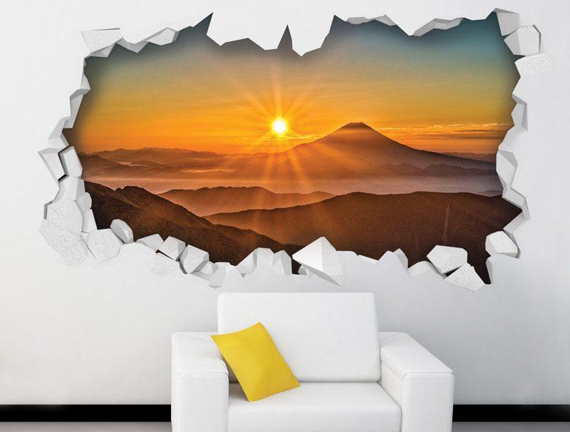 מדבקת קיר   חור תלת מימדי עם נוף של שקיעה