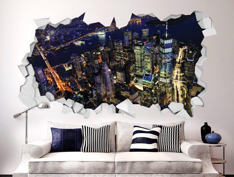 מדבקת קיר   חור תלת מימדי עם נוף לעיר יפיפה בלילה