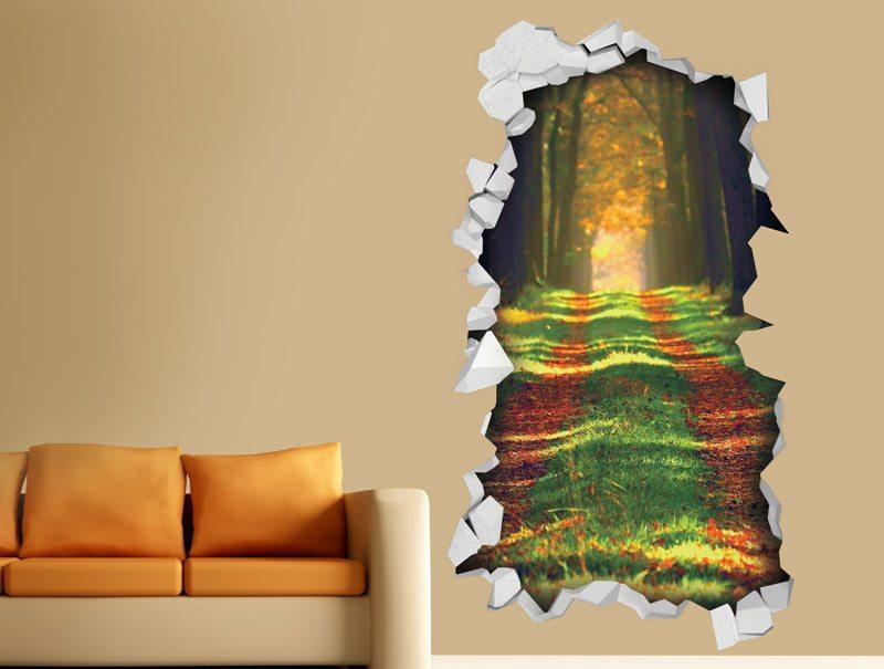 מדבקת קיר   חור תלת מימדי עם נוף של שביל בין עצים