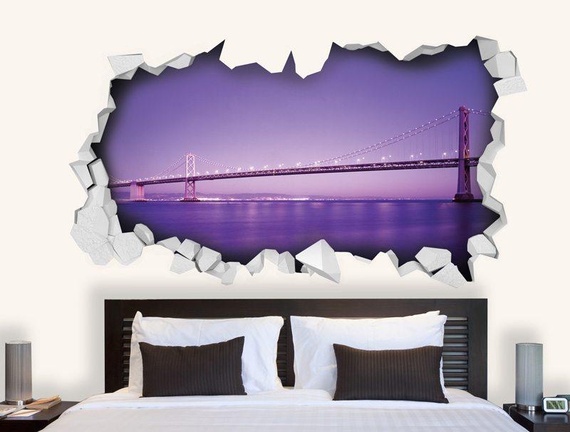 מדבקת קיר   גשר ונוף סגול