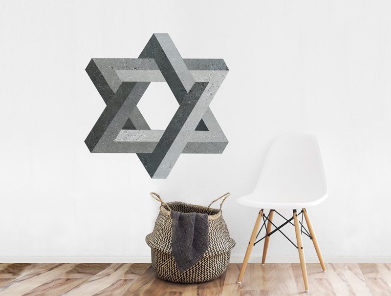 מדבקת קיר   צורה בלתי אפשרית של מגן דוד