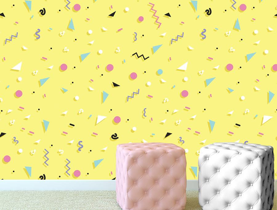טפט – צורות צבעוניות על רקע צהוב