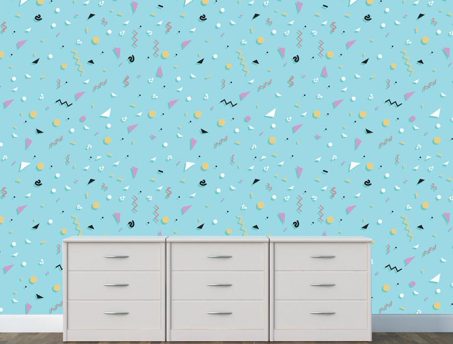 טפט – צורות צבעוניות על רקע תכלת