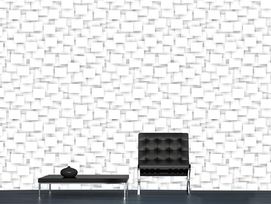 טפט – ריבועים לבנים תלת מימדיים